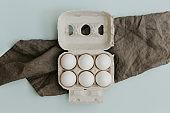 Fresh eggs on pastel background. Design, visual art, minimalism