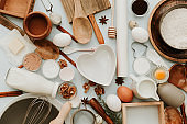 Flat lay composition with baking preparations on pastel background