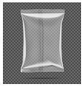 Transparent pillow bag. Vector illustration on gray background.