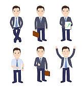 Set of businessman on white background.