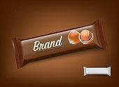 Realistic chocolate bar mockup with hazelnuts.
