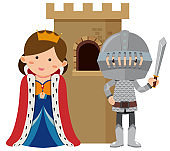 Princess and knight at castle