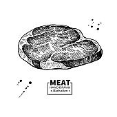 Raw beef steak vector drawing. Red meat hand drawn sketch. Engraved food illustration.
