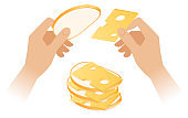 Flat isometric illustration of hands making the cheese sandwich.