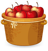Red apple in basket