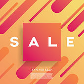 Sales poster or banner vector template with modern geometric shape and colorful design with bright attractive colors. Best offers, deals, discounts promotion