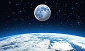 Earth Moon Stars - Outer Space Scene - Starry Sky