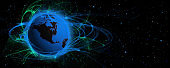 Planet Earth Energy Aura Outer Space Background with Copy Space - Science Fiction Wallpaper