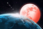 Science Fiction  Wallpaper - Giant Moon over the Earth in Outer Space - Fantasy Scene