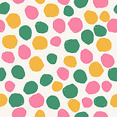 Colorful brush dots seamless pattern. Summer background