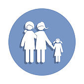 a pair of lesbians hold their daughter by the hand icon in badge style. One of Family collection icon can be used for UI, UX