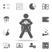 superhero with the sign of money icon. Finance icons universal set for web and mobile