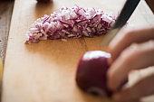 Spanish onions chopping