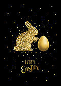 Glitter Gold Rabbit Over Black Background