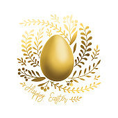 Gold Easter Egg Leaves Ornament Isolated
