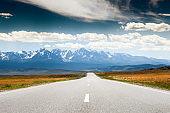 Road to the mountains. Altai, Siberia, Russia