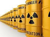 3D rendering Yellow radioactive barrels