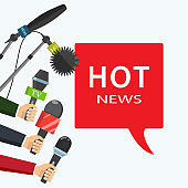 Vector illustration. Hot news, mass media concept.