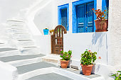 Traditional greek white architecture on Santorini island, Greece.