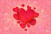 Valentine's day background. 3d red hearts on pink pattern with hand drawn love line art symbols in sketch style. Space for text
