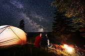 Rear view romantic couple sitting in tent camp by fire under night sky strewn with stars and milky way