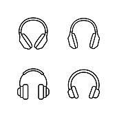 line headphones icons set on white background