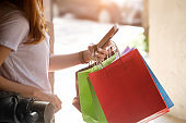 Asian woman shopping in holiday time lifestyle.