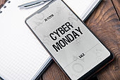 Modern smartphone with 'notch' witch cyber monday 2018 banner on the screen
