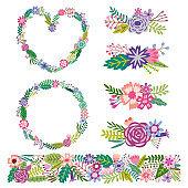 Vector floral frame set. Flower border and wreath