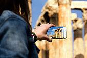 Tourist snapshot of the Temple of Olympian Zeus, Athens, Greece