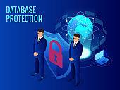 Isometric database protection concept. Server room rack, database security, shield server unit, computing digital technology. Internet equipment industry. Network telecommunication server