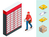 Isometric set of Post Office, Postman, envelope, mailbox and other attributes of postal service, point of correspondence delivery icons