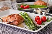 Salmon and Asparagus Entree - horizontal close up