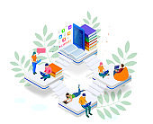 Isometric web banner E-learning online, library online concept. Landing page template. Modern design for a web page.