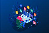 Isometric Developing programming and coding technologies. Website design. Vector illustration