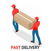 Isomeric fast delivery concept. Delivery man in red uniform holding boxes and documents. Courier order, worldwide shipping. Fast and Free Transport
