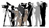 Cameraman silhouette journalists