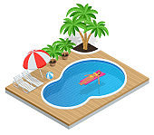 Isometric Aqua Park with water pool. Illustration isolated on white background Summer Vacation concept. Enjoying suntan Woman in bikini on the inflatable mattress in the swimming pool.