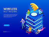 Isometric Modern server with wireless network connection concept. Communication technology. People Working Technology Devices. IOT online synchronization, connection via smartphone wireless technology