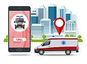 all ambulance car via mobile phone, emergency call. Ambulance car, hands dialing number ambulance service operator, hospital building. Sos mobile concept for web banner, web site, infographics