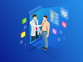 Isometric healthcare, diagnostics and online medical consultation app on smartphone. Digital health concept with a doctor standing on phone surrounded by assorted medical icons. Innovative technology