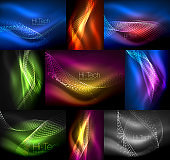 Set of multicolored neon smoke particles waves, vector abstract backgrounds, digital flow wave concept with particles in motion, big data idea. Abstract color shiny light smoke effect geometric background