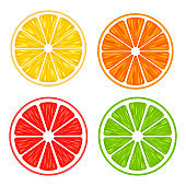 Realistic 3d Vector Illustration Set of sliced orange, grapefruit, lemon, and lime. Colourful citrus background. EPS 10.