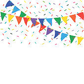 Colorful party flags with confetti. Celebrate flags. Party background with flags and confetti
