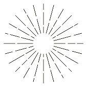 Vintage sunburst in lines shape