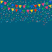 Celebrate background. Festive flags and confetti