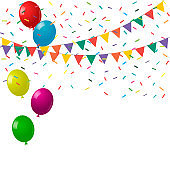 Celebrate background. Festive bright background with balloons and flags