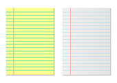 Notebook paper yellow and white. Lined paper