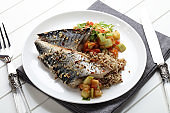 Grilled saury with kinoa and vegetable stew