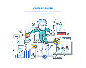 Career growth. Achievement high goals, success in business and growth